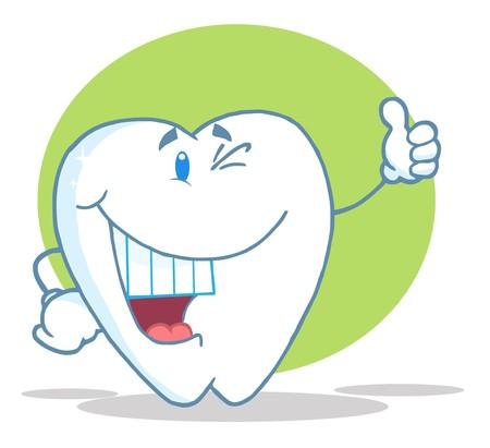 diente caricatura: Caracteres de dibujos animados de diente sonriente feliz