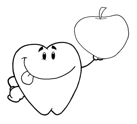 Outlined Tooth Cartoon Character Holding Up A Apple  photo