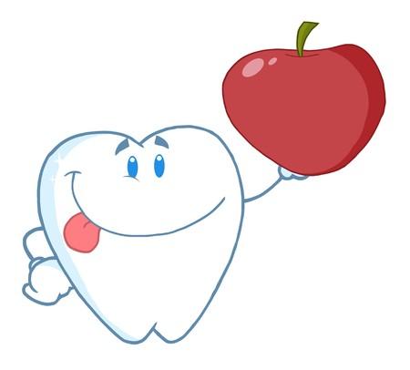 笑顔歯の漫画のキャラクター、リンゴを保持