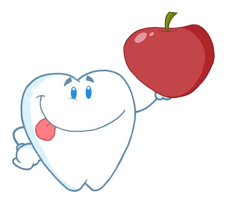 Smiling Tooth Cartoon Character Holding Up A Apple  Stock Photo