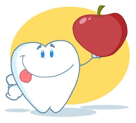 diente caricatura: Sonriente caracteres de la mascota de dibujos animados de Tooth Holding Up A Apple