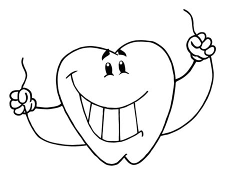 Outlined Tooth Cartoon Mascot Character With Floss  photo