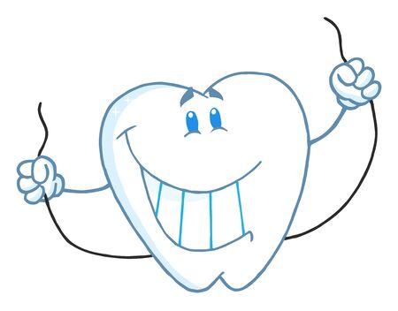 Lachende tand Cartoon mascotte karakter met Floss Stockfoto - 7474702