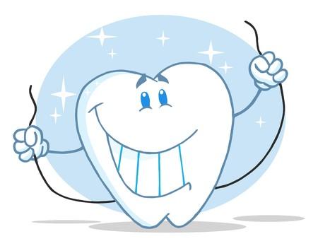 diente caricatura: Caracteres de dibujos animados de diente sonriente con Floss  Foto de archivo