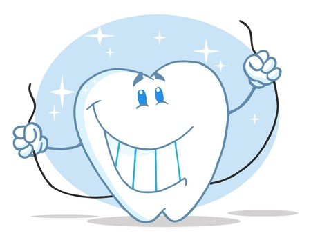 tooth root: Smiling Tooth Cartoon Character With Floss