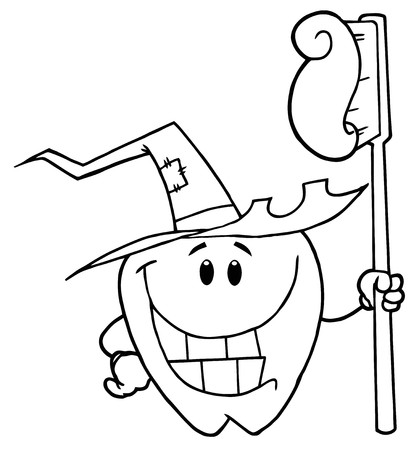 Outlined Smiling Halloween Tooth With Toothbrush  photo