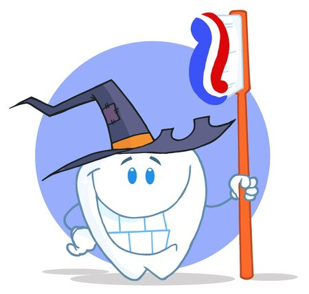 Smiling Halloween Tooth With Toothbrush  photo