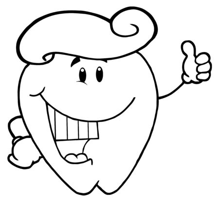 Outlined Tooth Cartoon Character With Toothpaste  photo