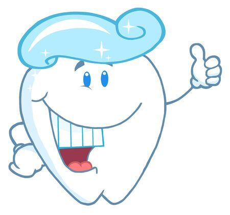 fluoride toothpaste: Tooth Cartoon Character With Toothpaste