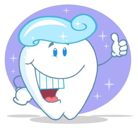 Smiling Tooth Cartoon Character With Toothpaste  photo
