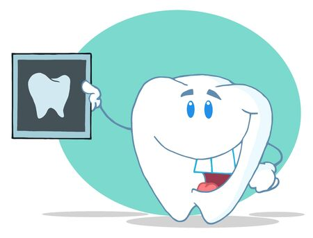 Smiling Tooth Cartoon Character With X-ray Picture  Stock Photo - 7572150