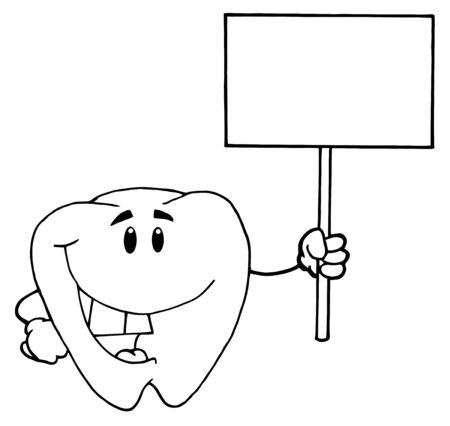 diente caricatura: Esbozado Tooth Cartoon car�cter holding de un signo de blanco en blanco  Foto de archivo