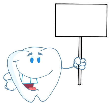 Smiling Tooth Cartoon Character Holding A Blank White Sign  photo