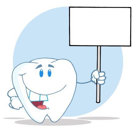 dientes caricatura: Car�cter de dibujos animados de diente holding de un signo de blanco en blanco  Foto de archivo