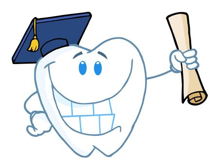educated: Graduate Tooth Holding A Diploma