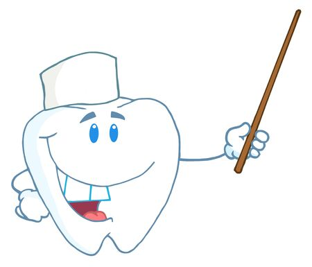 isolation: Smiling Dental Tooth Character Holding A Pointer