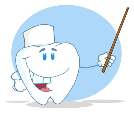 Dental Tooth Character Holding A Pointer  Banco de Imagens