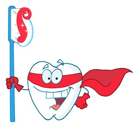 Superhero Tooth With Toothbrush  Stock Photo - 7572244