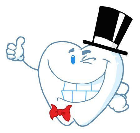 幸せなウインク紳士歯