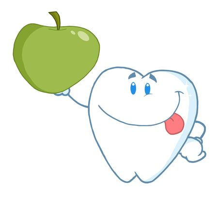 Smiling Tooth Holding Up A Green Apple Archivio Fotografico - 7572131
