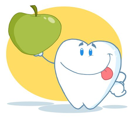 Dental Tooth Character Holding A Green Apple