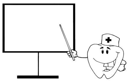 Dente dottore mostra il puntatore su un bordo  Archivio Fotografico - 7572180
