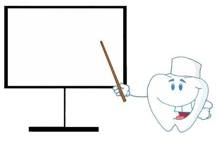 Dente dottore mostra il puntatore su un bordo  Archivio Fotografico - 7572149
