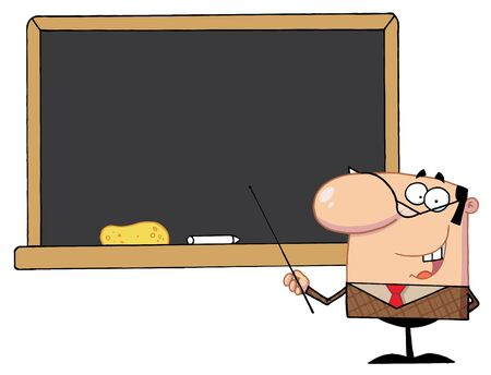 School Teacher With A Pointer Displayed On Chalk Board  photo