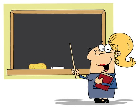 cute cartoon: Blond Lady School Teacher With A Pointer Displayed On Chalk Board