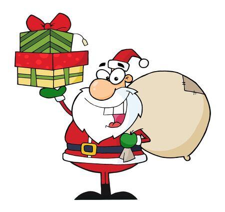 サンタ クロースの贈り物のスタックを保持