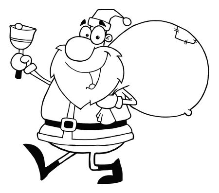 sacks: Outline Santa Waving A Bell And Walking With His Toy Sack