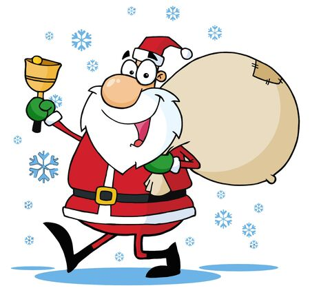 philanthropist: Santa Waving A Bell And Walking With His Toy Sack  Stock Photo