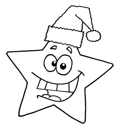 Outlined Happy Christmas Star Smiling