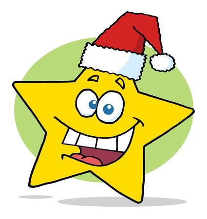 Happy Christmas Star Cartoon Character Smiling  photo