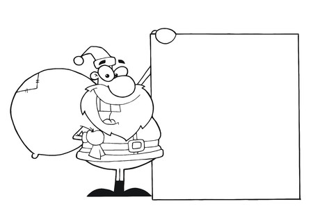 Outlined Christmas Santa Clause Presenting A Blank Sign  photo