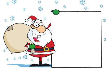 father: Christmas Santa Clause Presenting A Blank Sign