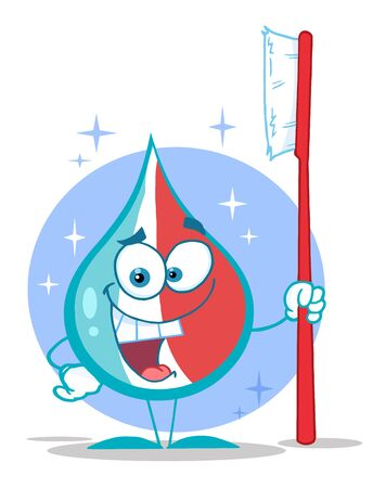 Toothpaste Cartoon Character Holding A Toothbrush  photo