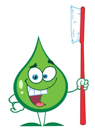 Green Toothpaste Character Holding A Toothbrush