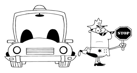 Outlined Traffic Police Officer With Car  Illustration