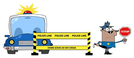 Yellow Police Line And African American Traffic Police Officer  向量圖像