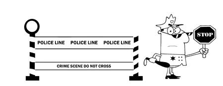 Outlined Police Line And Traffic Police Officer  Ilustração
