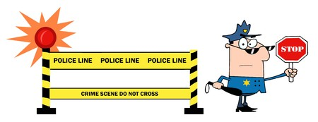 Yellow Police Line And Traffic Police Officer  Vector