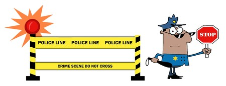 Yellow Police Line And African American Traffic Police Officer  Vector