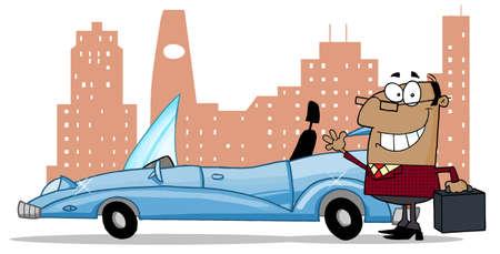 convertible car: Hombre de negocios estadounidense Waving siguiente A Car Convertible en frente del centro de la ciudad