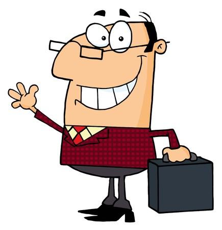 vectorrn: Businessman Waving A Greeting  Illustration
