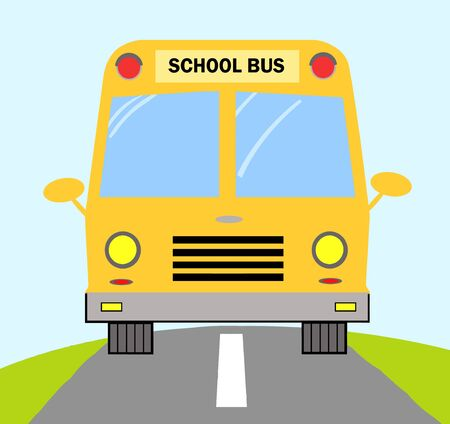 School Bus On Road  Vector
