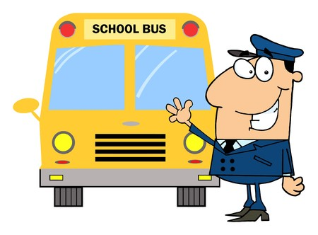 truck driver: Driver In Front of School Bus  Illustration