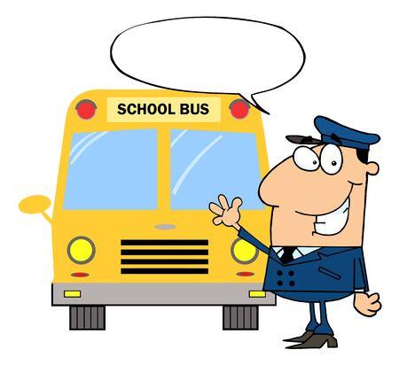 chofer de autobus: Controlador Waving en delante del autob�s de escuela