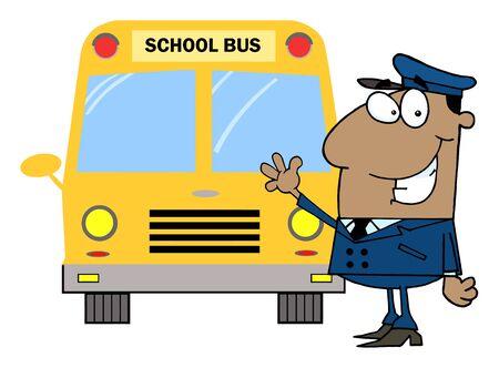 African American Driver In Front of School Bus  Vector