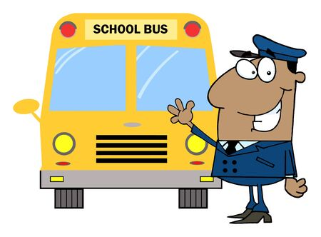 coach bus: African American Driver In Front of School Bus  Illustration